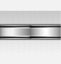 silver black line banner metallic hexagon mesh vector image