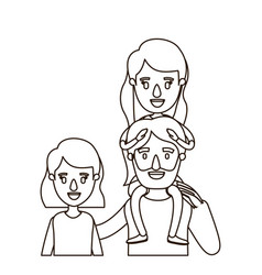 Sketch contour caricature half body family with vector