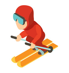 skier icon isometric 3d style vector image