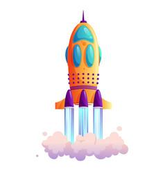 spaceship launch rocketship takeoff rocket trace vector image