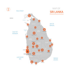 sri lanka map with administrative divisions vector image