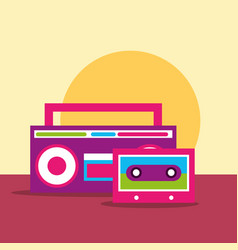 stereo sound radio and cassette hippie free spirit vector image