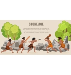 stone age war primitive men tribes fighting vector image