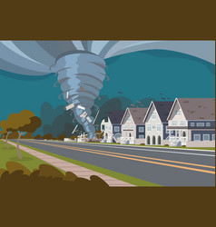 swirling tornado in village destroy houses vector image