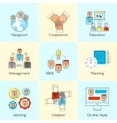 Teamwork Line Concept Set vector image