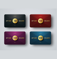 templates of premium gift cards with a golden vector image