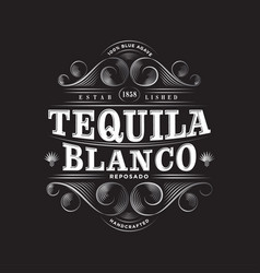 Tequila blanco label packaging curl decor vector