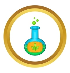 Test tube with marijuana leaf icon vector image