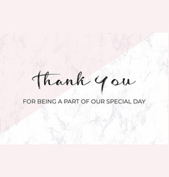 thank you card design template white marble vector image