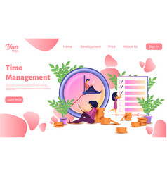 time management landing web page template vector image