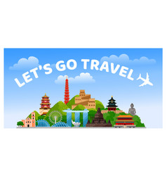 Travel to asia asian travel poster web banner vector