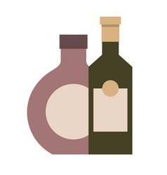 two bottles drinks liquor isolated design vector image