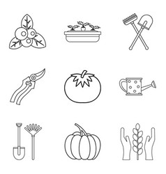 Vegan herbivore icons set outline style vector