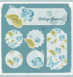 Vintage banners stickers set vector