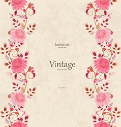 vintage invitation card with seamless floral vector image vector image