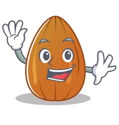 waving almond nut character cartoon vector image