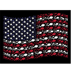Waving united states flag stylization of vector