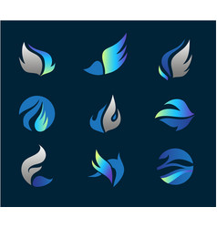wings logo set abstract flowing icons vector image