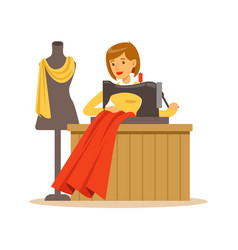 Woman tailor sewing a red dress craft hobby or vector