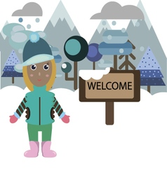 Woman welcoming to the resort vector