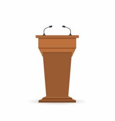 Wooden podium tribune stand rostrum with vector