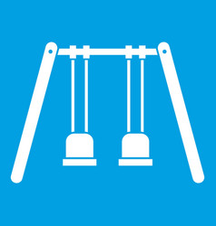 wooden swings hanging on ropes icon white vector image