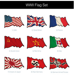 world war two waving flag set vector image