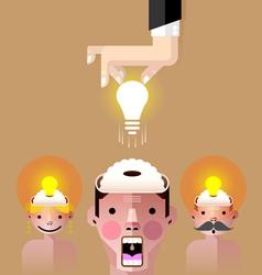 Brain idea light bulb vector image vector image
