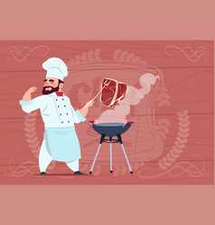 chef cook grill meat on bbq cartoon restaurant vector image vector image