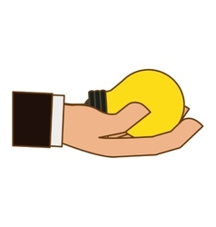 hand holding lightbulb idea icon image vector image vector image