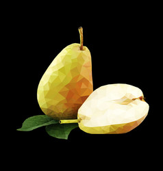 low poly pear vector image