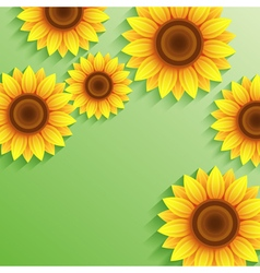 Nature summer green background with 3d sunflower vector image vector image