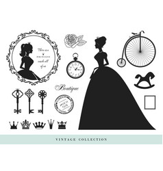 vintage silhouettes set princesses old keys vector image