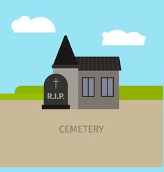 cemetery building cartoon vector image vector image