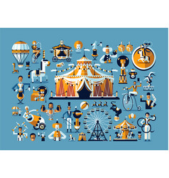 Circus Colored icons collection vector image