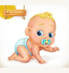 cute kid baby 3d icon vector image vector image