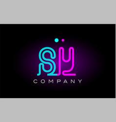 neon lights alphabet sy s y letter logo icon vector image
