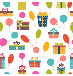 seamless pattern with colorful gift boxes and vector image vector image