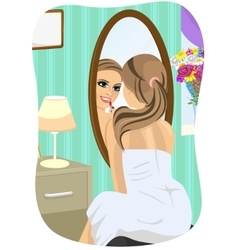 Young woman applying lipstick looking at mirror vector image vector image