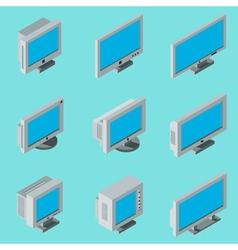 Desktop computer monitor icons vector
