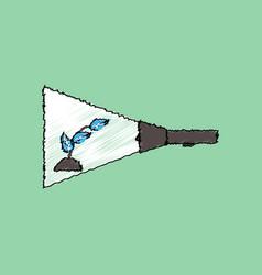 flat shading style icon flashlight and plant vector image