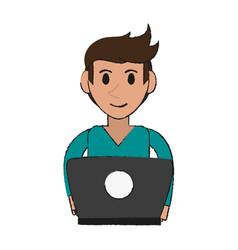 Person desk draw vector