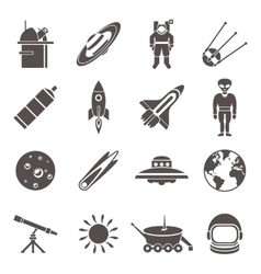 Space Black Icon Set vector image vector image