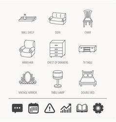 double bed table lamp and armchair icons vector image