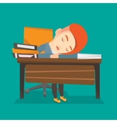 Female student sleeping at the desk with book vector image vector image