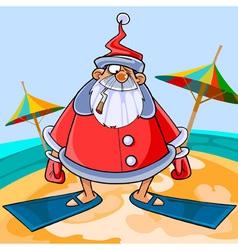 Funny cartoon Santa Claus wearing flippers vector image vector image