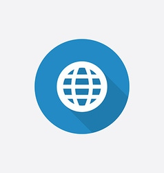 globe Flat Blue Simple Icon with long shadow vector image