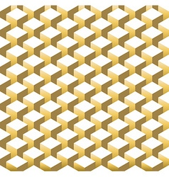 Gold isometric 3d retro cube seamless pattern vector image