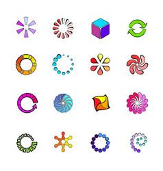 loading icons set cartoon vector image