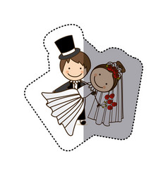 sticker colorful caricature couple wedding icon vector image